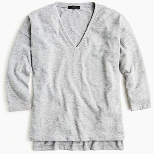 J. Crew Luxe Supersoft V Neck Top Gray M